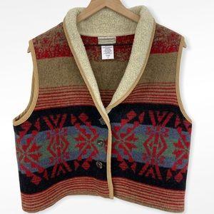 Coldwater Creek Southwest Print Fleece Trim Vest